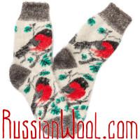 Носки Снегири в Кустах женские пуховые