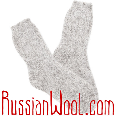 Носки пуховые серебристый меланж