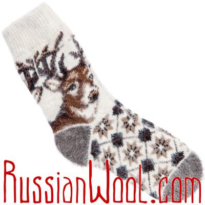 Носки Олени, пуховые белые