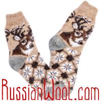 Женские носки с оленем, пуховые кремовые