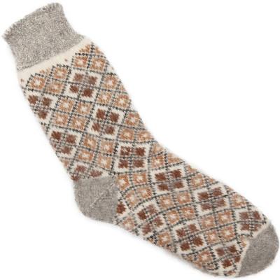 Носки пуховые мужские с простым орнаментом ромбики