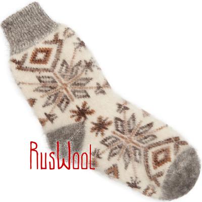 Носки Звезды-Снежинки пуховые коричнево-белые