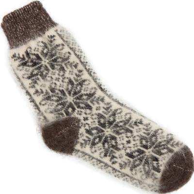 Носки Звезды-Снежинки пуховые черно-белые