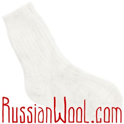 Носки козьи пуховые белые