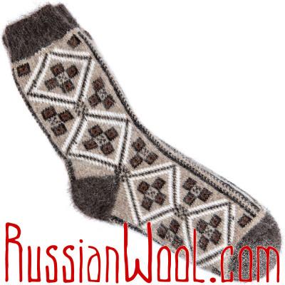 Носки пуховые мужские с простым орнаментом шашки