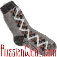 Носки пуховые мужские с простым орнаментом плетенка