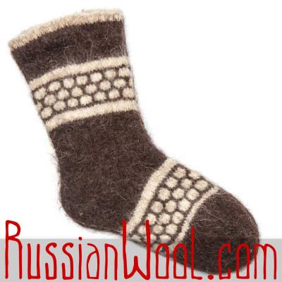 Носки Антик чистошерстяные коричневые