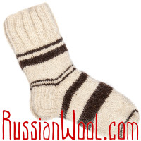 Шерстяные носки ручной вязки, белые полосатые