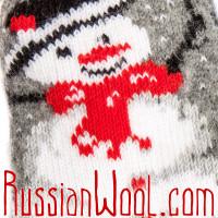 Носки Снеговик шерстяные женские серые