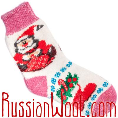 Носки Рождественские с Санта-Клаусом бело-розовые
