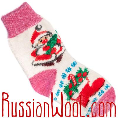 Носки Рождественские с Новым Годом и елочкой бело-розовые