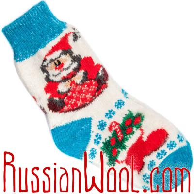 Носки Рождественские с Санта-Клаусом голубо-белые