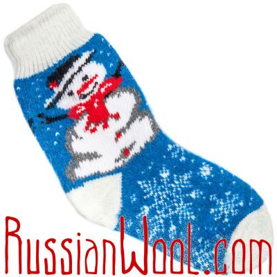 Носки Рождественские со Снеговиком  бело-синие