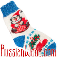 Носки Рождественские с Санта-Клаусом сине-белые