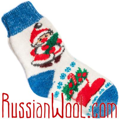 Носки Рождественские с Новым Годом и елочкой бело-синие