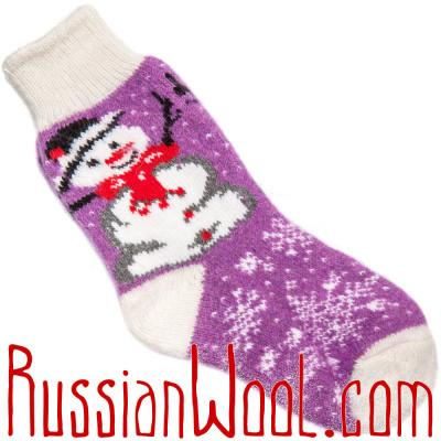 Носки Рождественские со Снеговиком  бело-лиловые