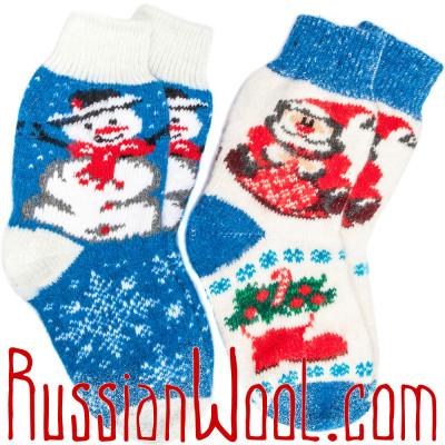 Комплект Рождественский женские шерстяные носки 2 пары бело-голубые