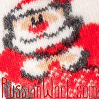 Носки Рождественские с Санта-Клаусом бело-лиловые