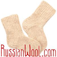 Носки Бланше Персик 100% шерстяные ручной вязки