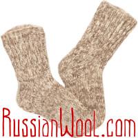 Носки Меланж светлые, ручной вязки чистошерстяные