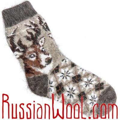Детские носки с Оленем серые, шерсть с пухом
