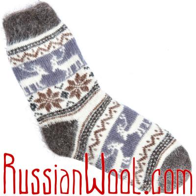 Носки Эскимосские с оленями козьи пуховые