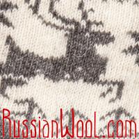 Носки Олени Бег шерстяные женские бело-серые