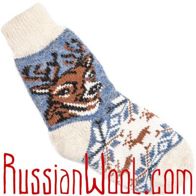 Носки Весенний Олень шерстяные голубые