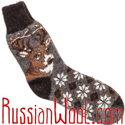 Носки Олени шерстяные мужские темно-серые
