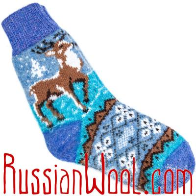 Носки Олени сиренево-голубые