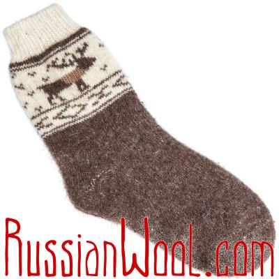 Носки Олени шерстяные кофейно-коричневые