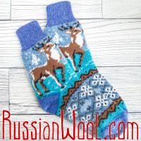 Носки Олени сиренево-голубые с орнаментом