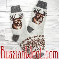 Носки Олени шерстяные мужские серо-белые