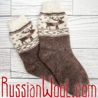 Носки Олени шерстяные коричневые, серые, бежевые