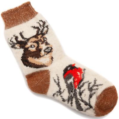 Носки Хит — Олени со Снегирями, белые
