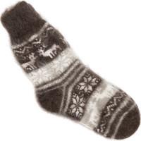 Носки Эскимосские с оленями козьи пуховые темные