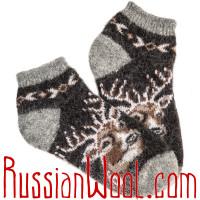 Носки с оленем черные короткие шерстяные мужские