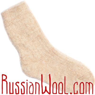 Носки козьи пуховые, бежевые