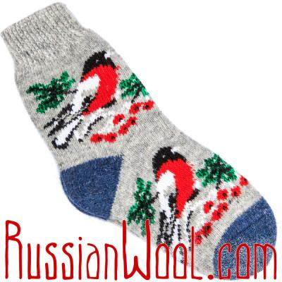 Носки Снегири шерстяные серые с синей пяткой