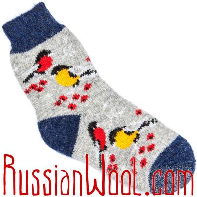Носки Снегири-Синички шерстяные серые женские