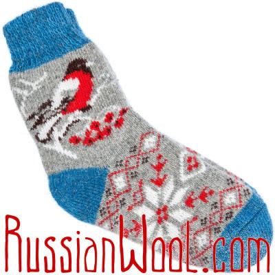 Носки Снегири с орнаментом шерстяные серые с голубой пяткой