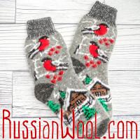 Носки Снегири с домиком шерстяные серые женские