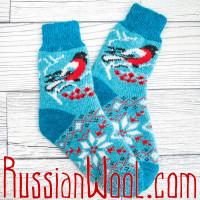 Носки Снегири шерстяные бирюзовые женские