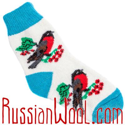 Носки Снегири на Рябине шерстяные голубо-белые
