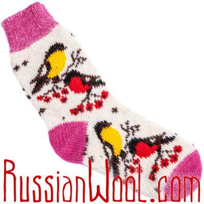 Носки Снегири-Синички шерстяные розово-белые