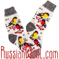 Носки Снегири-Синички шерстяные серо-белые
