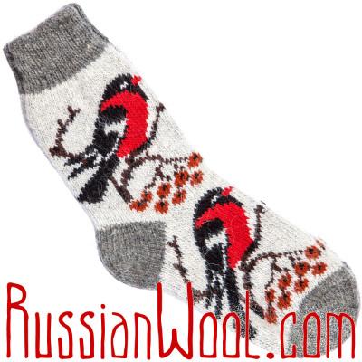 Носки Снегири на Рябине шерстяные дымчато-белые
