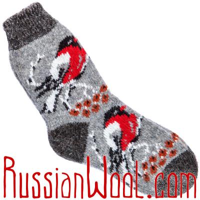Носки Снегири шерстяные серые женские