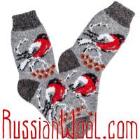 Носки Снегири на Рябине шерстяные серые