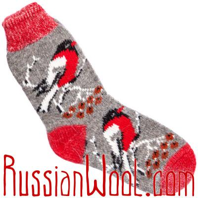 Носки Снегири на Рябине шерстяные красно-серые